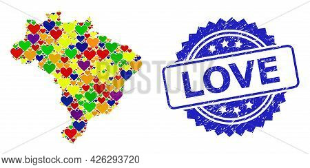 Blue Rosette Rubber Stamp With Love Title. Vector Mosaic Lgbt Map Of Brazil With Hearts. Map Of Braz