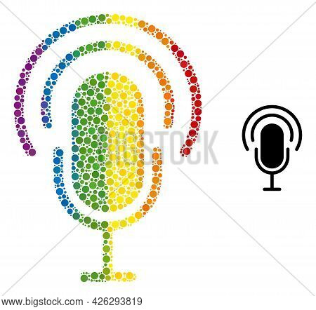 Podcast Collage Icon Of Circle Spots In Different Sizes And Rainbow Color Tones. A Dotted Lgbt-color