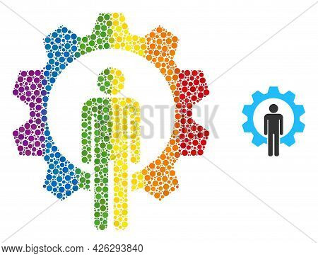 Human Resources Mosaic Icon Of Spheric Blots In Variable Sizes And Spectrum Color Tinges. A Dotted L