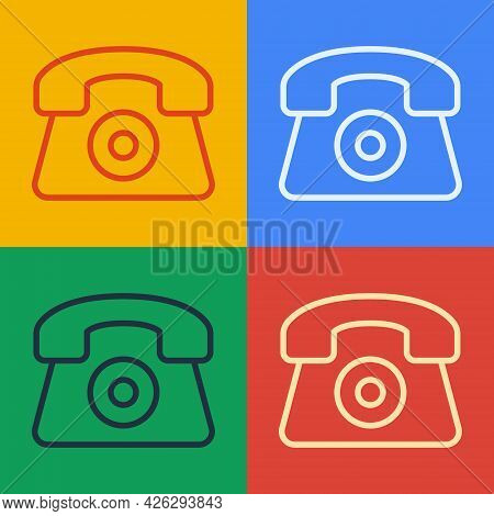 Pop Art Line Telephone 24 Hours Support Icon Isolated On Color Background. All-day Customer Support
