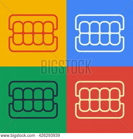 Pop Art Line False Jaw Icon Isolated On Color Background. Dental Jaw Or Dentures, False Teeth With I