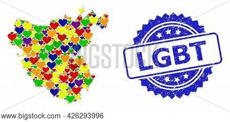 Blue Rosette Distress Seal Imprint With Lgbt Message. Vector Mosaic Lgbt Map Of Cadiz Province With