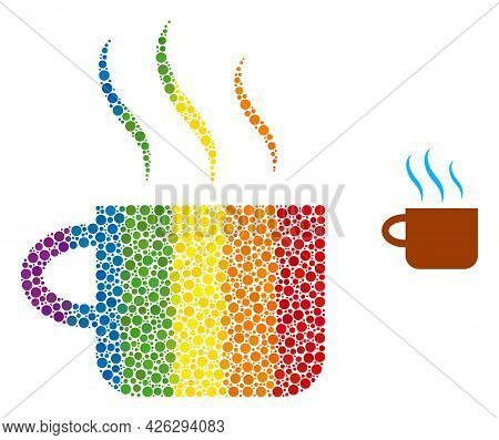 Hot Tea Cup Composition Icon Of Round Dots In Various Sizes And Spectrum Colorful Color Tones. A Dot