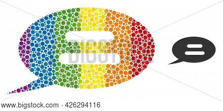 Text Message Mosaic Icon Of Filled Circles In Various Sizes And Spectrum Colorful Color Tones. A Dot