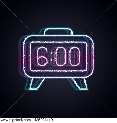 Glowing Neon Line Digital Alarm Clock Icon Isolated On Black Background. Electronic Watch Alarm Cloc