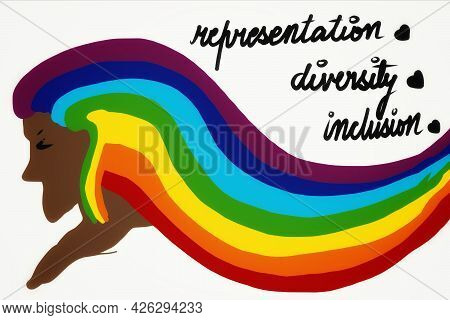 Illustration And Concept, Representation, Diversity, Inclusion. Rainbow Colored Hair To Signify The