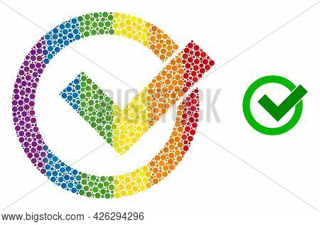 Validation Collage Icon Of Round Items In Various Sizes And Spectrum Color Hues. A Dotted Lgbt-color
