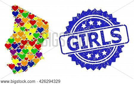 Blue Rosette Grunge Seal Stamp With Girls Title. Vector Mosaic Lgbt Map Of Chad With Lovely Hearts.