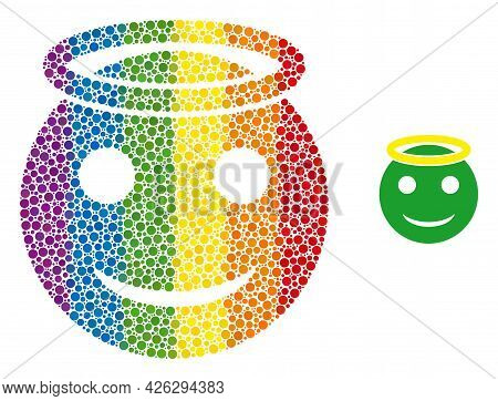 Holy Smiley Collage Icon Of Circle Elements In Various Sizes And Spectrum Multicolored Color Tones.