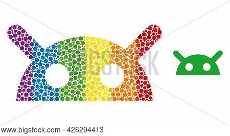 Robot Head Mosaic Icon Of Spheric Dots In Various Sizes And Spectrum Colored Color Tones. A Dotted L