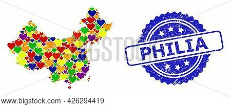 Blue Rosette Scratched Seal With Philia Message. Vector Mosaic Lgbt Map Of China Of Lovely Hearts. M