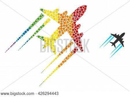 Flying Airplane Trace Mosaic Icon Of Filled Circles In Various Sizes And Spectrum Colored Color Tint