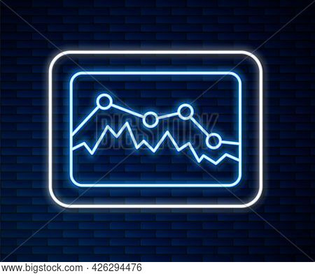 Glowing Neon Line Music Wave Equalizer Icon Isolated On Brick Wall Background. Sound Wave. Audio Dig