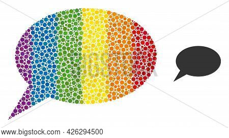 Forum Message Collage Icon Of Spheric Blots In Various Sizes And Rainbow Color Tones. A Dotted Lgbt-