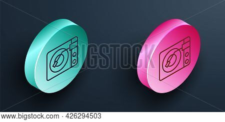 Isometric Line Vinyl Player With A Vinyl Disk Icon Isolated On Black Background. Turquoise And Pink