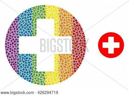 Healthcare Composition Icon Of Round Dots In Various Sizes And Spectrum Colored Color Hues. A Dotted