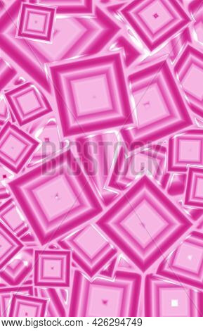 Gradient Pink Geometric Square Shape Pattern For Abstract Background, Illustration