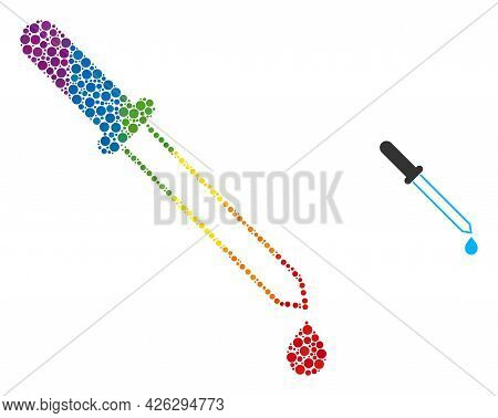 Pipette Collage Icon Of Filled Circles In Various Sizes And Spectrum Bright Color Tints. A Dotted Lg