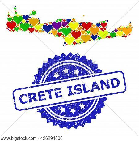 Blue Rosette Distress Seal Stamp With Crete Island Text. Vector Mosaic Lgbt Map Of Crete Island Of L