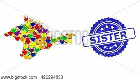 Blue Rosette Rubber Seal Imprint With Sister Phrase. Vector Mosaic Lgbt Map Of Crimea With Lovely He