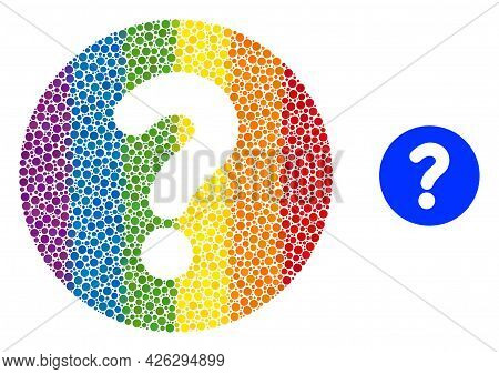 Query Composition Icon Of Filled Circles In Various Sizes And Rainbow Colored Color Tints. A Dotted