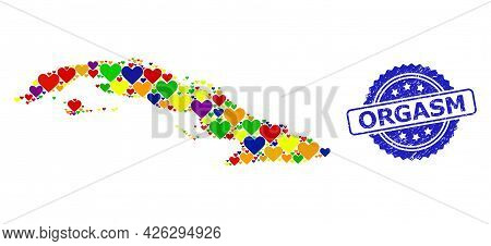 Blue Rosette Textured Seal Stamp With Orgasm Message. Vector Mosaic Lgbt Map Of Cuba From Lovely Hea