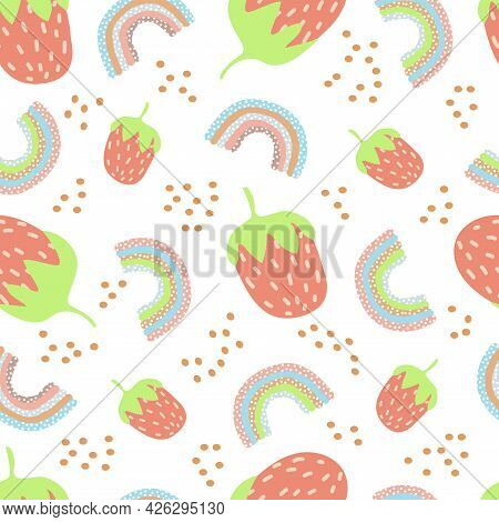 Seamless Pattern Of Stylized Strawberries And Rainbow Polka Dots With Blue Lilac And Pink And Beige