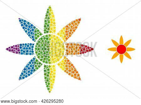 Sun Shine Collage Icon Of Filled Circles In Various Sizes And Rainbow Colorful Color Tints. A Dotted