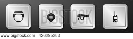 Set Military Helmet, Bulletproof Vest, Cannon And Walkie Talkie Icon. Silver Square Button. Vector