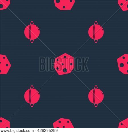 Set Planet Saturn And Asteroid On Seamless Pattern. Vector