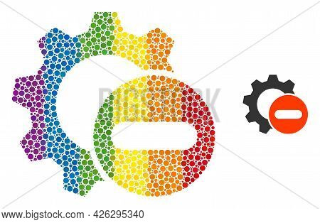 Remove Settings Gear Collage Icon Of Circle Elements In Variable Sizes And Rainbow Color Tinges. A D