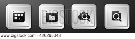 Set Loading Data Window, File Missing, Search Cloud Computing And Concept With Folder Icon. Silver S