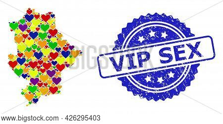 Blue Rosette Scratched Watermark With Vip Sex Phrase. Vector Mosaic Lgbt Map Of Donetsk Republic Wit