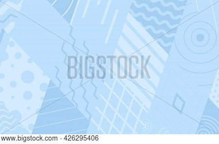 Vector Abstract Horizontal Background. Geometric Shapes And Shapes In A Grid Of Rhombuses. Parallel