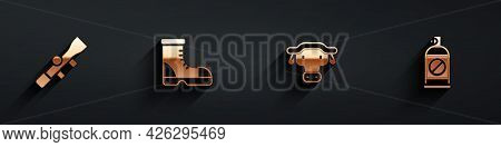 Set Sniper Optical Sight, Hunter Boots, African Buffalo Head And Spray Against Insects Icon With Lon