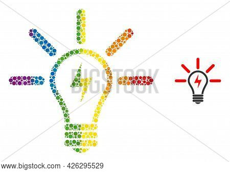 Electric Light Bulb Mosaic Icon Of Filled Circles In Various Sizes And Rainbow Color Tones. A Dotted