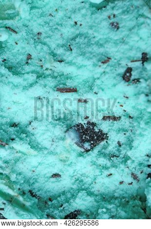 Closeup Mouthwatering Texture Of Mint Chocolate Chip Ice Cream For Abstract Background