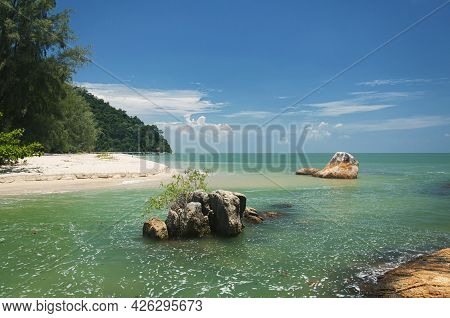 The Rocky And Sandy Coast Within The Penang National Park On The Straits Of Malacca In Malaysia On A