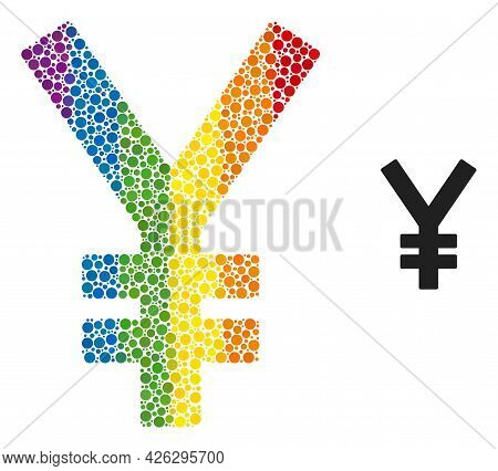 Yen Mosaic Icon Of Circle Elements In Different Sizes And Rainbow Colored Color Tints. A Dotted Lgbt