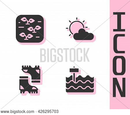 Set Garden Bed, Plant, Waterproof Rubber Boot And Sun And Cloud Weather Icon. Vector