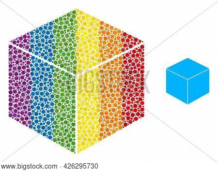 Sugar Cube Collage Icon Of Circle Elements In Different Sizes And Rainbow Multicolored Color Hues. A