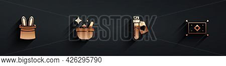 Set Magician Hat And Rabbit Ears, Witch Cauldron, Bottle With Love Potion And Carpet Icon With Long