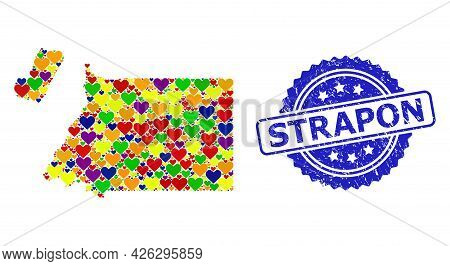 Blue Rosette Textured Stamp With Strapon Title. Vector Mosaic Lgbt Map Of Equatorial Guinea With Lov