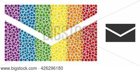 Mail Mosaic Icon Of Round Dots In Various Sizes And Rainbow Colored Color Tints. A Dotted Lgbt-color