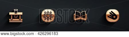 Set Bottle With Potion, Pentagram In A Circle, Ancient Magic Book And Comet Falling Down Fast Icon W