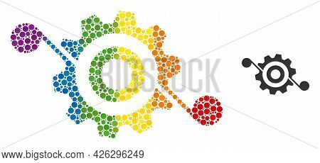 Gear Solution Collage Icon Of Round Dots In Different Sizes And Spectrum Bright Color Tinges. A Dott