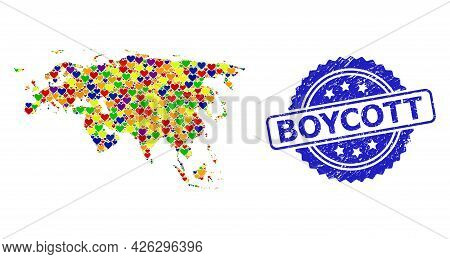 Blue Rosette Textured Seal Stamp With Boycott Phrase. Vector Mosaic Lgbt Map Of Europe And Asia With