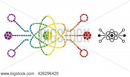 Quantum Circuit Collage Icon Of Filled Circles In Different Sizes And Spectrum Color Tinges. A Dotte