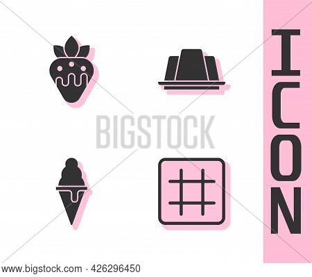 Set Waffle, Strawberry In Chocolate, Ice Cream Waffle Cone And Jelly Cake Icon. Vector