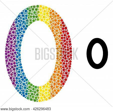 Digit Zero Composition Icon Of Spheric Blots In Variable Sizes And Spectrum Multicolored Color Tinge